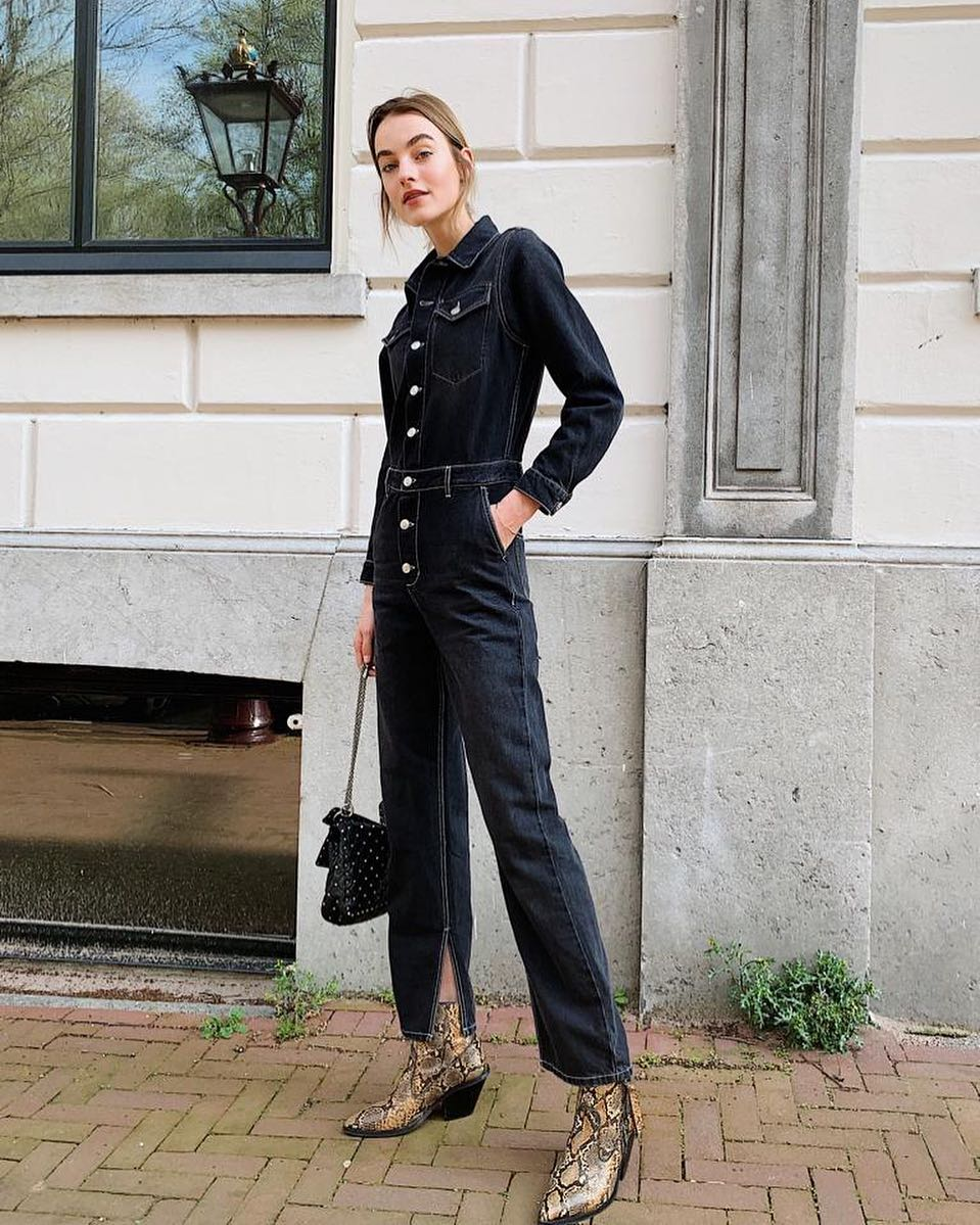Dark Navy Denim Jumpsuit And Snakeskin Boots For Spring 2020
