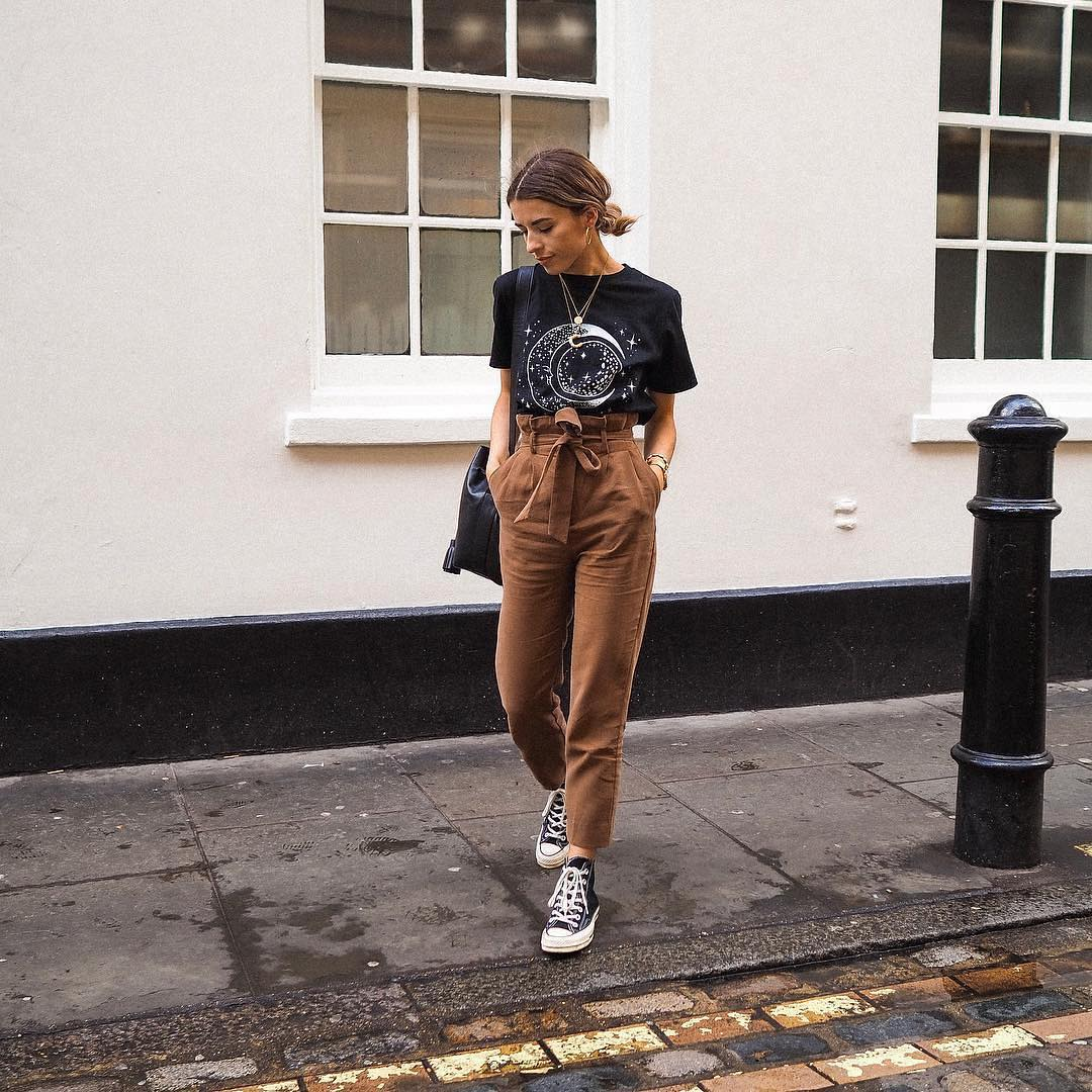 Black Tee And Gathered Light Brown Pants With Black Trainers For Summer 2019