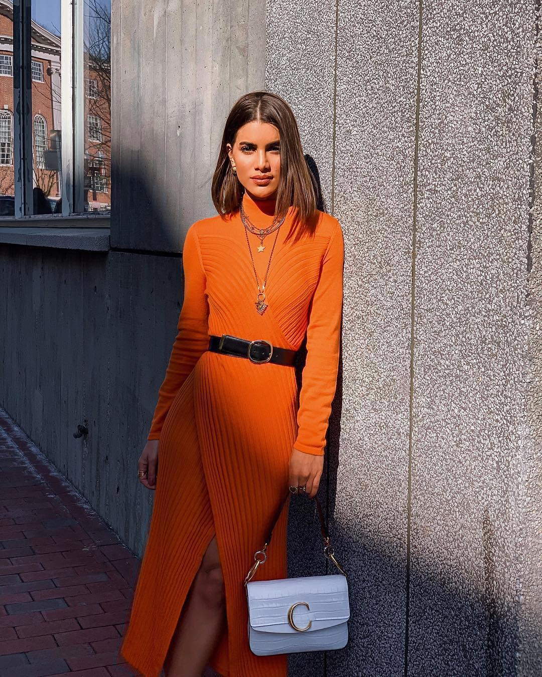 Orange Knitted Long Sleeve Dress For Spring 2019