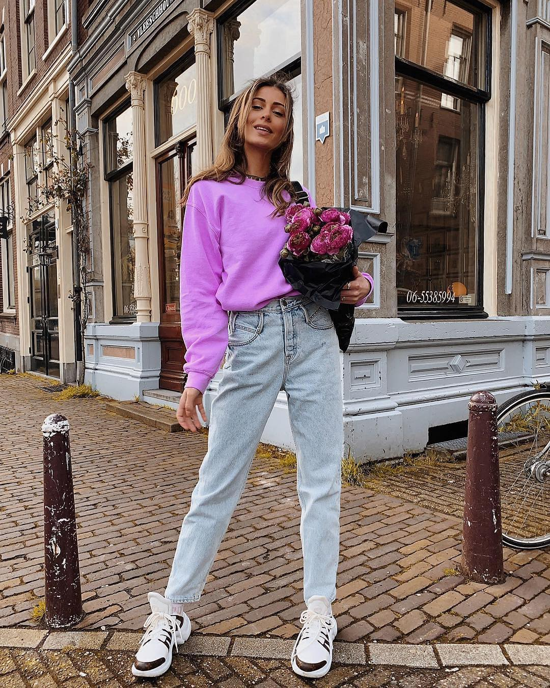 Pastel Violet Pullover, Regular Jeans And Sneakers Sporty Normcore For Spring 2020